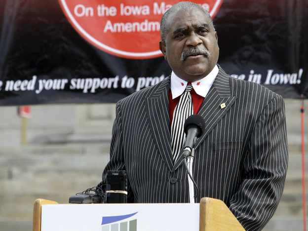 The Rev. Keith Ratliff Sr., of Des Moines, Iowa, resigned from the NAACP's national board this week. He spoke at a rally against gay marriage in Des Moines last year.