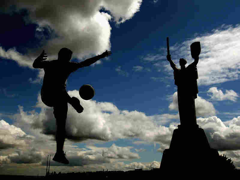A man plays soccer in Kiev on Thursday. The first games of the Euro 2012 tournament are on Friday.