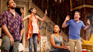 From left, Damon Gupton, Annie Parisse, Crystal A. Dickinson and Jeremy Shamos in a scene from Clybourne Park's second act, set in a gentrifying neighborhood.