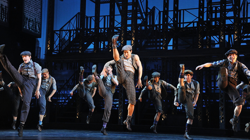 "The idea behind Ost's design was to keep the set out of the way of the storytelling --€"" and of Newsies' kinetic ensemble. (Getty Images)"