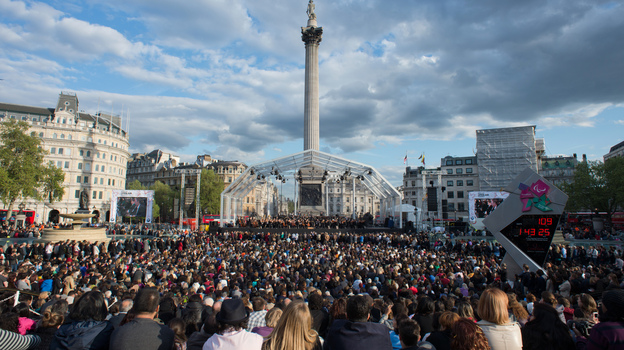 The London Symphony Orchestra, performing for real at a free concert in Trafalgar Square last month. (AFP/Getty Images)