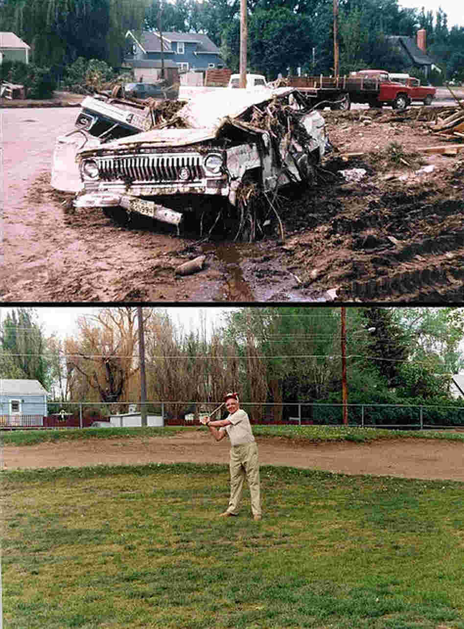 This man's jeep was destroyed by the flood. In the bottom photo, he tees off 20 years later on a golf course that was built where his neighborhood used to stand. The city prohibited building in the flood plain after 1972. A gallery of before and after images is here.