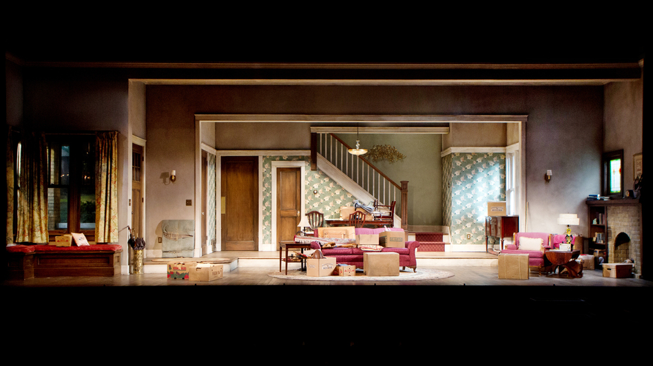 Ostling's finished set for the play's first half varies a bit from his initial design; note the higher stairway opening. (Nathan Johnson)
