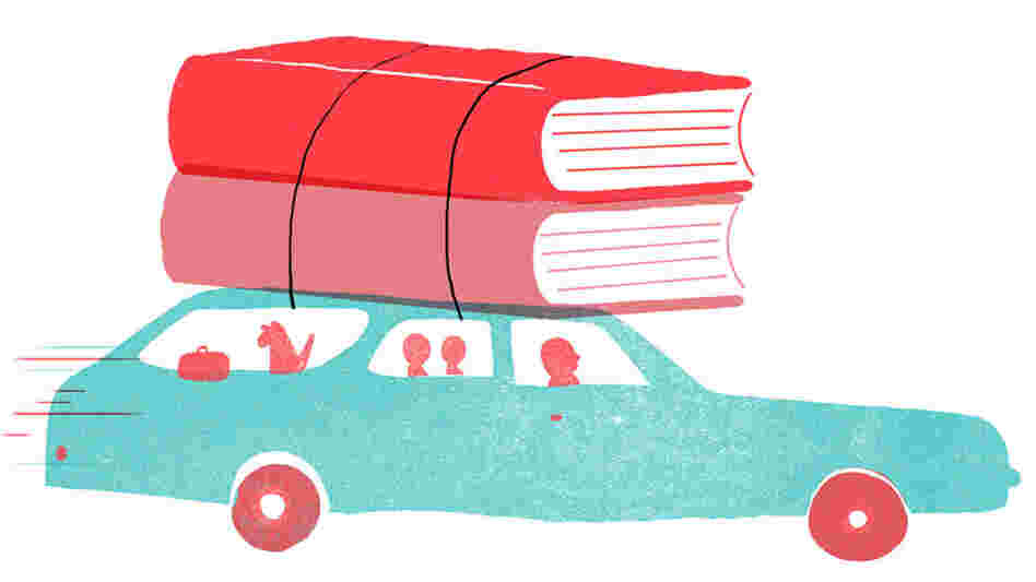 Illustration: Books strapped to the top of a family car.