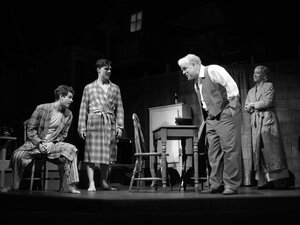 Philip Seymour Hoffman (center) and Andrew Garfield (left) with Finn Wittrock and Linda Emond in the revival of Arthur Miller's Death of a Salesman. The play received seven nominations in total.