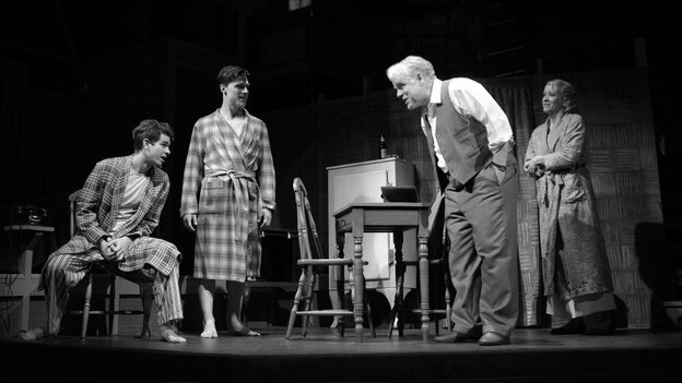 Philip Seymour Hoffman (center) and Andrew Garfield (left) with Finn Wittrock and Linda Emond in the revival of Arthur Miller's Death of a Salesman. The play received seven nominations in total. (New York Magazine)