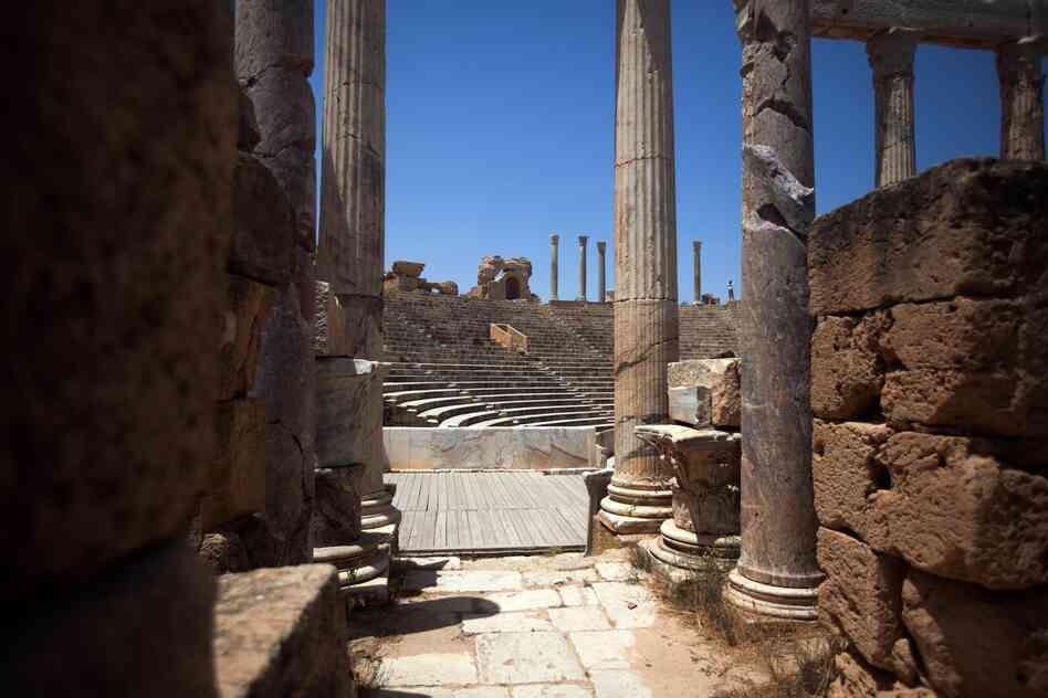 A view of the Leptis Magna amphitheater. Leptis Magna is a massive Roman ruin on the Libyan coast between Tripoli and Misrata.