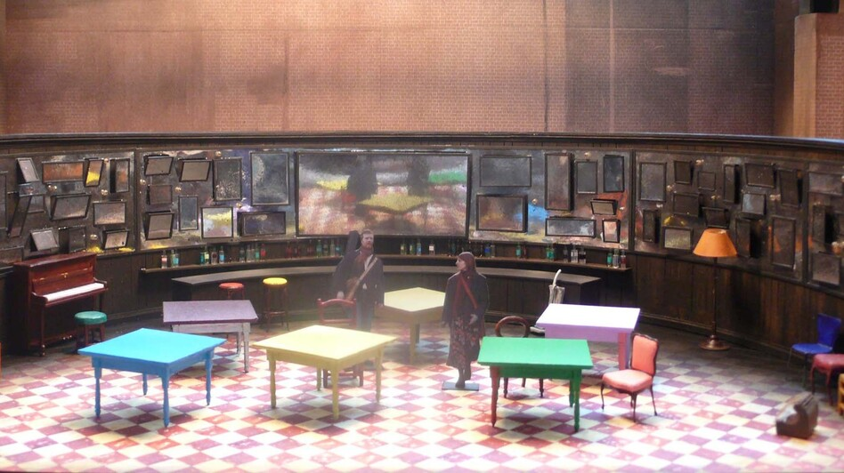 Designer Bob Crowley modeled the set for Once on a pub — because the play's original venue had a built-in bar. (Bob Crowley)