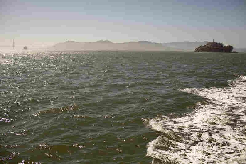 The choppy waters around Alcatraz island.