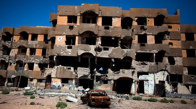A destroyed apartment building in Tawargha, south of the Libyan coastal city of Misrata. Rebels from Misrata destroyed Tawargha, accusing residents of supporting Moammar Gadhafi and committing atrocities. (NPR)