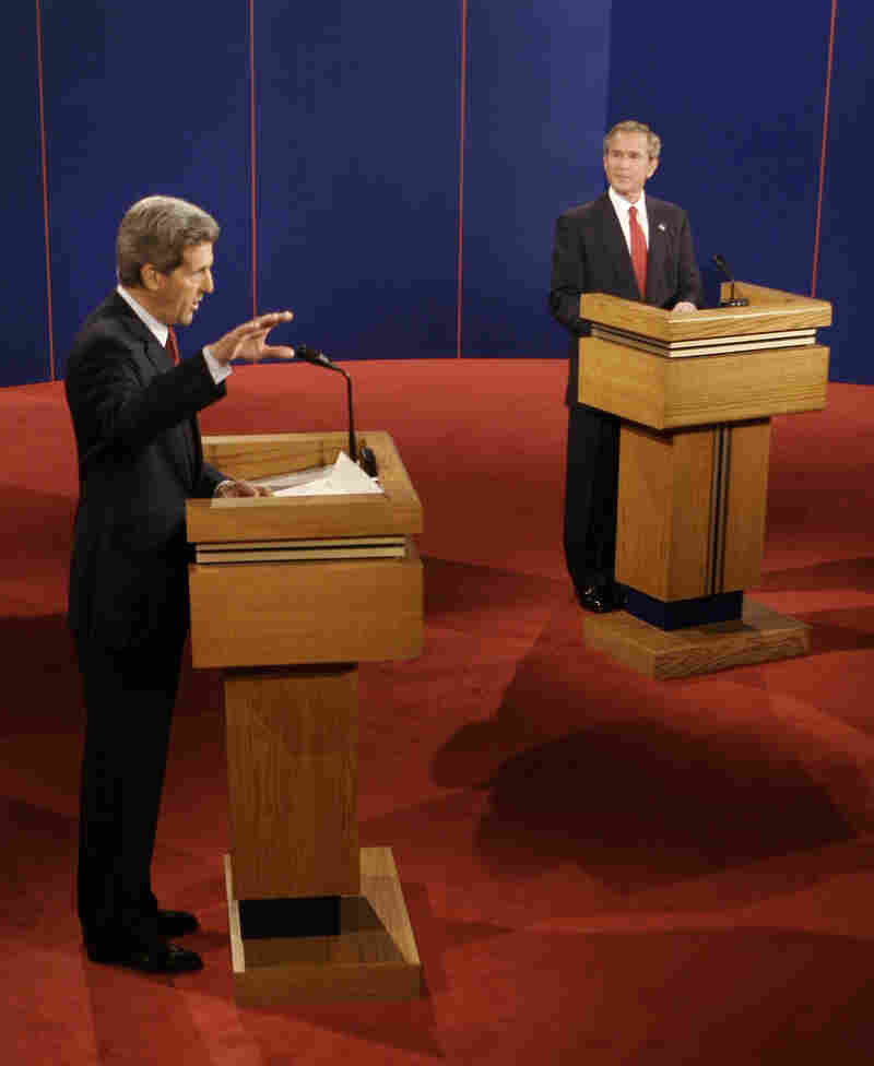 Democratic presidential candidate Sen. John Kerry debates President George W. Bush on Oct. 13, 2004. Bush later won re-election.