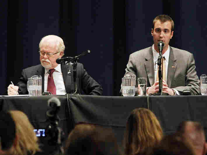 Democrat Ron Barber (left) and Republican Jesse Kelly during a May 23 debate in Tucson. They are running Tuesday in a special election to replace retired Rep. Gabrielle Giffords.