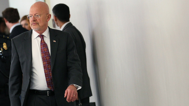 James Clapper, director of national intelligence, leaves a closed-door joint meeting with the Senate and House Intelligence committees on June 7. Clapper ordered an inquiry into security leaks to be concluded next week. (Getty Images)
