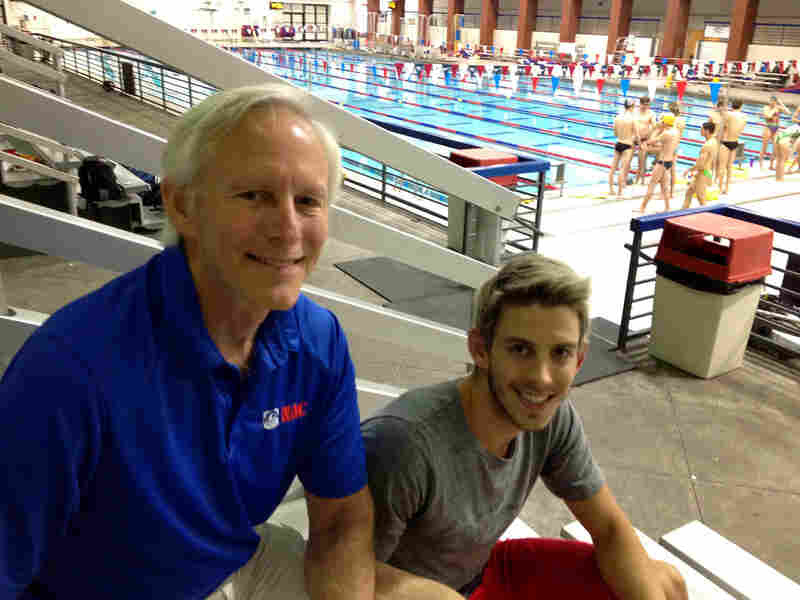 "Because of Phelps' dominance, ""in the 200 butterfly there is just one spot, essentially,"" says Dakota Hodgson. He's seen here with his father, Charlie, at a training facility in Nashville, Tenn."