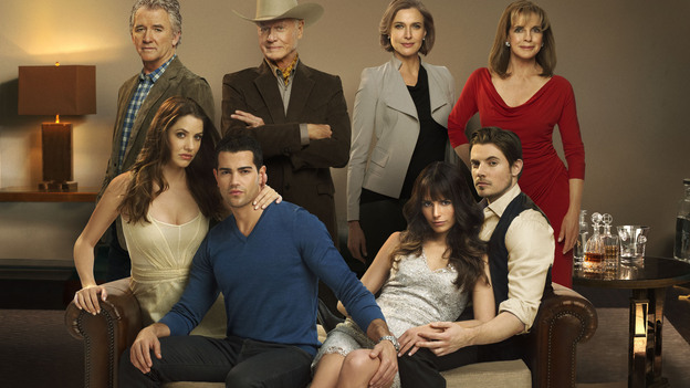 Bobby (Patrick Duffy, top left), J.R. (Larry Hagman, top center left) and the rest of the Ewing family are back, including a new generation, for TNT's reboot of Dallas. (TNT)