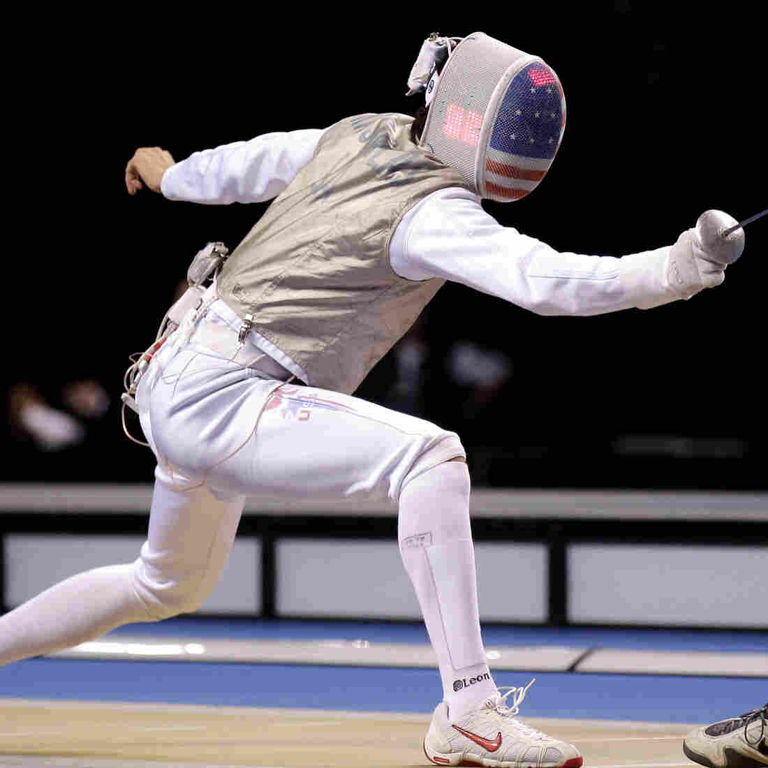 Alexander Massialas (left) lands a touch on Britain's Keith Cook during last year's Fencing International Invitation in London.