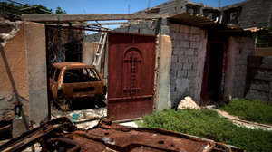 A destroyed home in Tawargha, south of Misrata. Residents have not returned home for fear of death. Misratans have burned every single home in the area and destroyed the town's infrastructure.