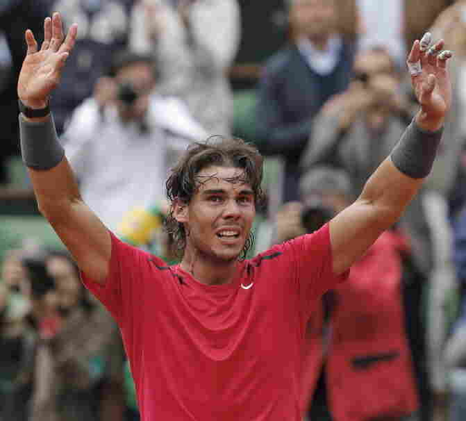 Rafael Nadal of Spain celebrates winning the French Open earlier today.