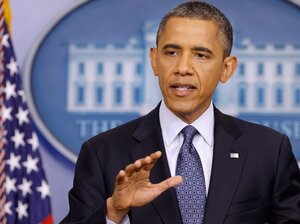 President Barack Obama answers reporters' questions during a news conference in the Brady Press Briefing Room at the White House June 8, 2012 in Washington, D.C. His administration is coping with criticism over its handling of intelligence leaks and their sources.