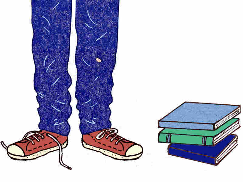 Illustration: teen with books