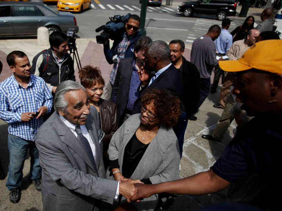 Rep. Charles Rangel greets supporters after a press conference at Frederick Douglass Circle in New York on May 3.