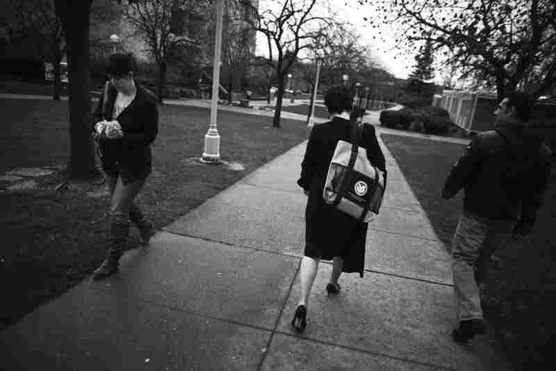 Morris walks across the Sierra College campus on her way to a meeting.