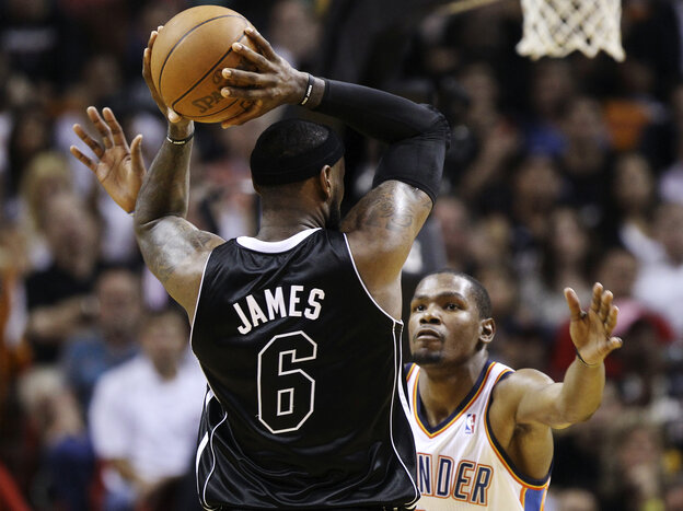 The Miami Heat's LeBron James and Kevin Durant of the Oklahoma City Thunder (shown during an April game) will match up again tonight in the first game of the NBA Finals.