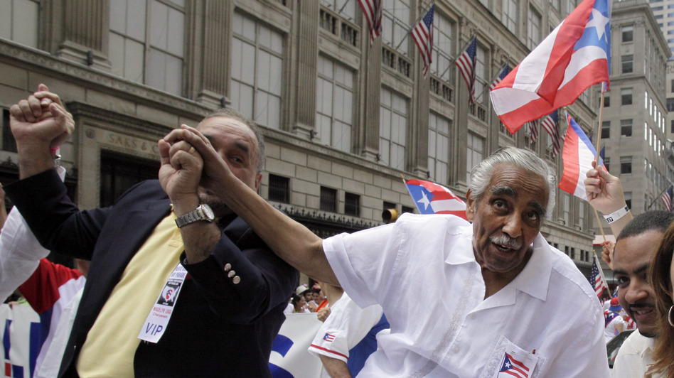 Rep. Charles Rangel, D-N.Y., participates in last week's National Puerto Rican Day Parade in New York City.