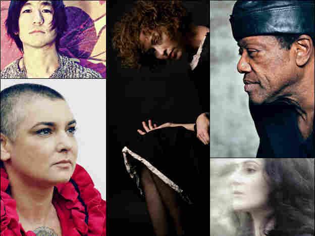 Clockwise from upper left: Kishi Bashi, Simone White, Bobby Womack, Aleksa Palladino of Exitmusic, Sinead O'Connor.