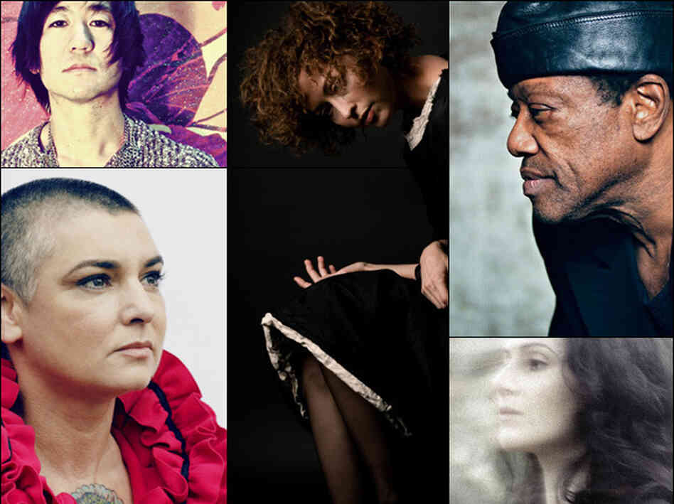 Clockwise from upper left: Kishi Bashi, Simone White, Bobby Womack, Aleksa Palladino of Exitmusic, Sinead O'Connor.