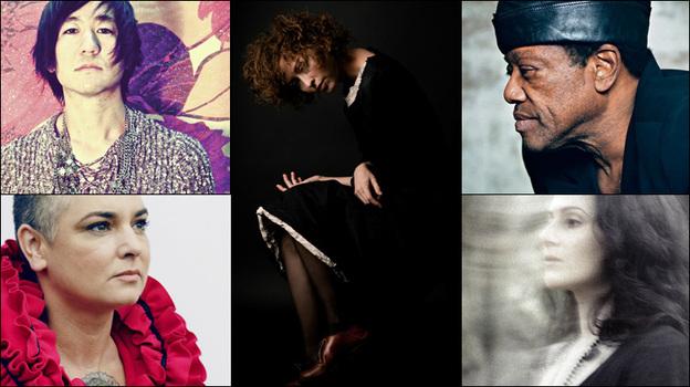 Clockwise from upper left: Kishi Bashi, Simone White, Bobby Womack, Aleksa Palladino of Exitmusic, Sinead O'Connor. (Courtesy of the artists)