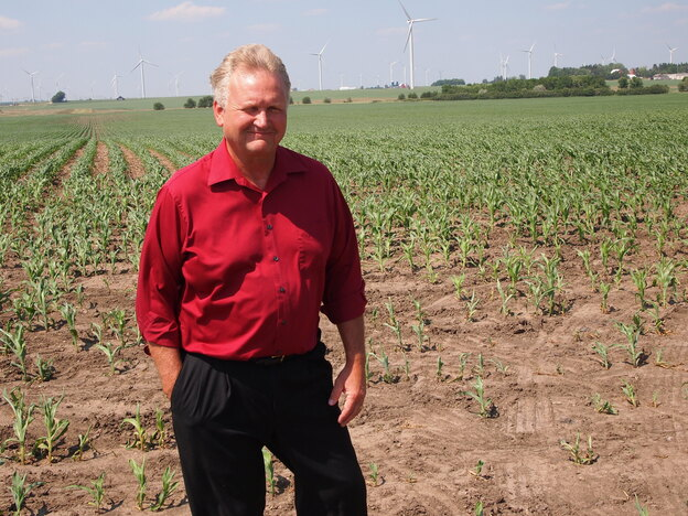 Larry Sailer on his corn and soybean farm, just north of Iowa Falls, Iowa. (for NPR)