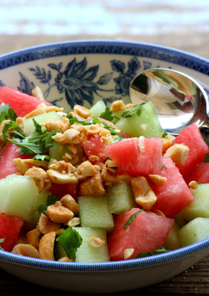 fruit salad, melons, nuts, thai fruit, peanuts