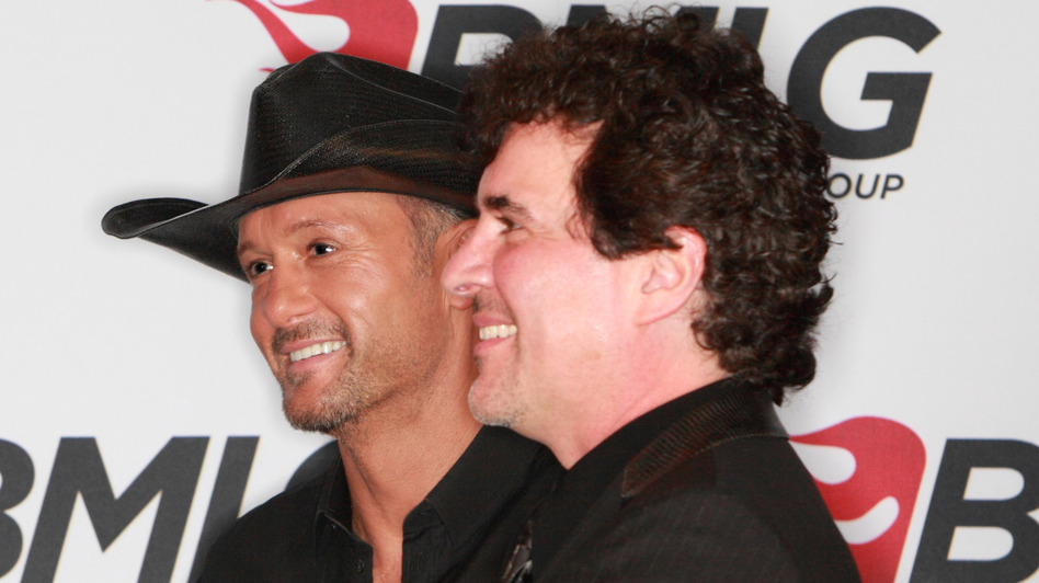 Tim McGraw (left) and Scott Borchetta, CEO of Big Machine Label Group, at a press conference in Nashville last month announcing McGraw's signing to the label. (Royce DeGrie/WireImage)