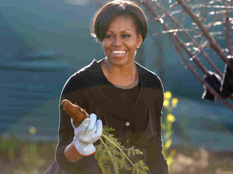 First Lady Michelle Obama gardens in Soweto township, in Johannesburg, South Africa. The first lady has planted a garden on the South Lawn of the White House — it's the first vegetable garden to be planted there since Eleanor Roosevelt's victory garden.