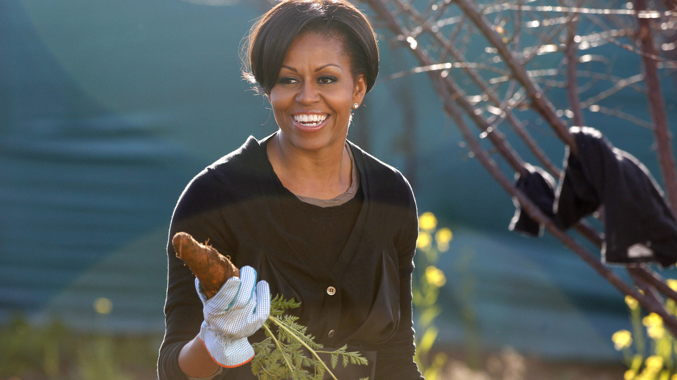 First Lady Michelle Obama gardens in Soweto township, in Johannesburg, South Africa. The first lady has planted a garden on the South Lawn of the White House — it's the first vegetable garden to be planted there since Eleanor Roosevelt's victory garden. (AFP/Getty Images)