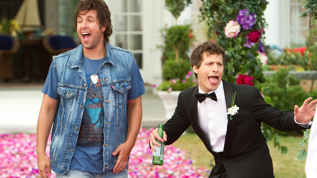 Reunited with an uptight son (Andy Samberg, right), a beer-swilling ne'er-do-well (Adam Sandler) counsels more heedless hedonism in That's My Boy.