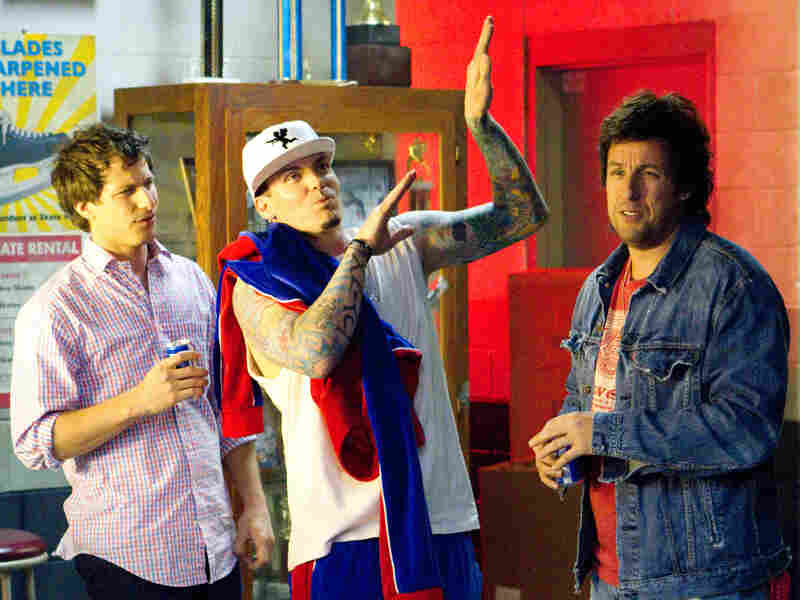 Vanilla Ice (center) appears as himself in That's My Boy, a film whose protagonist (Sandler) was himself famous — or at least notorious — for about 15 minutes.