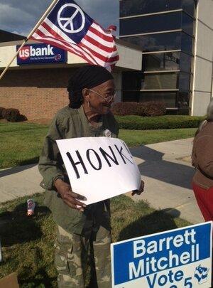 Lucille Berrien, 84, of Milwaukee campaigns Sunday for Democrat Tom Barrett.