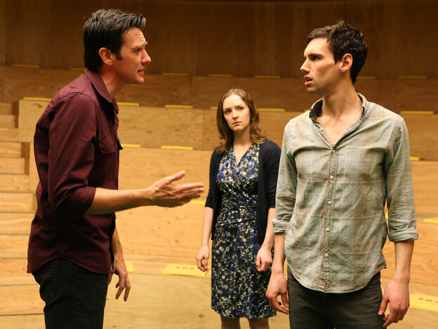 Three's company: M (Jason Butler Harner, left) and F (Amanda Quaid) spar over the affections of the paralyzingly uncertain John (Cory Michael Smith) in Mike Bartlett's The Cockfight Play.