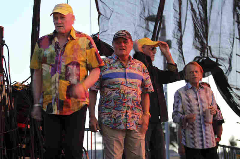 LAS VEGAS, NV - MAY 27: Mike Love, Bruce Johnston, David Marks and Al Jardine of the Beach Boys gather onstage prior to performing at the Red Ro
