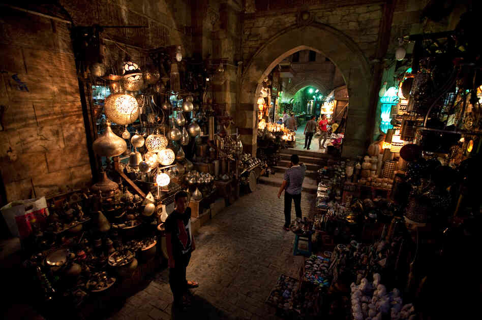 The Khan el-Khalili market in downtown Cairo used to attract many visitors, but tourism is down sharply since last year's revolution.
