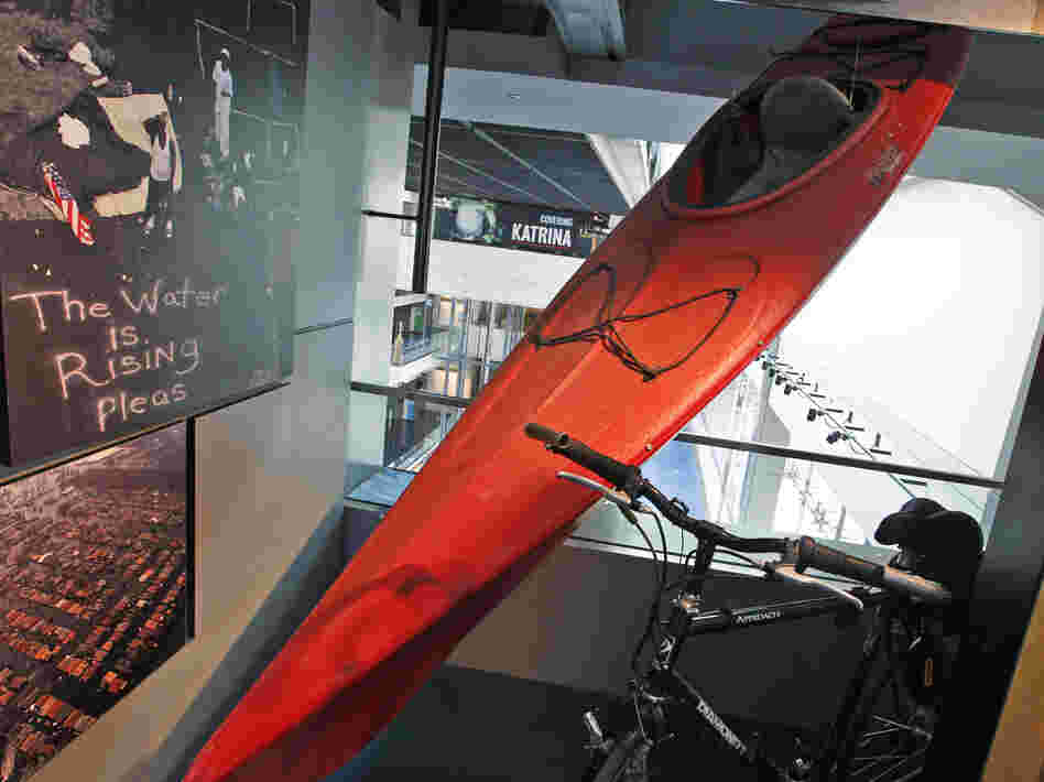 A kayak used by Times-Picayune photographer John McCusker to cover Hurricane Katrina is displayed at the Newseum in Washington, D.C., in 2010. McCusker, who worked for the paper for 25 years, is being laid off.