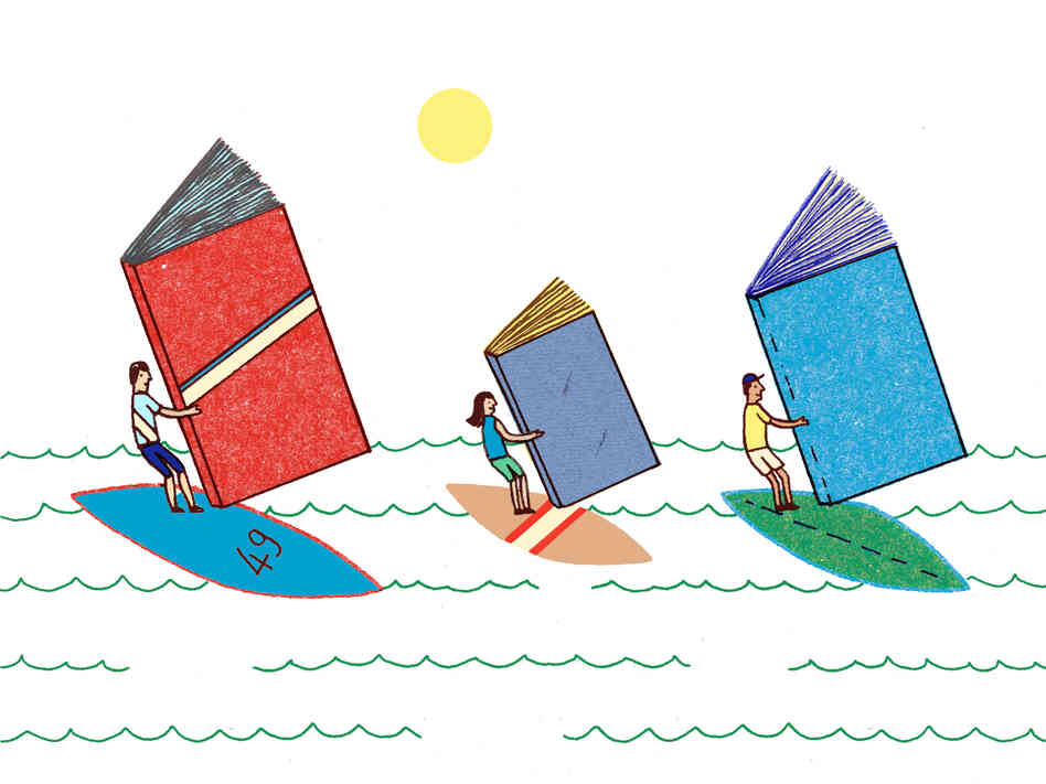 Illustration: Windsurfing with books.