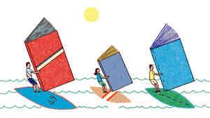 Illustration: Windsurfing with books.