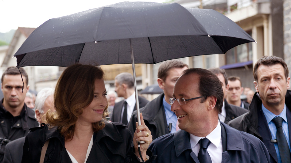 French President Francois Hollande (right) with his companion, Valerie Trierweiler, in Tulle, southwestern France, on June 9. Hollande campaigned as a down-to-earth politician, the opposite of his scandal-prone predecessor, Nicolas Sarkozy. (AFP/Getty Images)