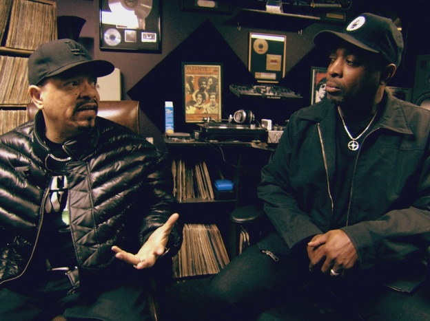 Ice-T (left) with Chuck D in a still from his documentary <em>From Something to Nothing: The Art of Rap</em>.