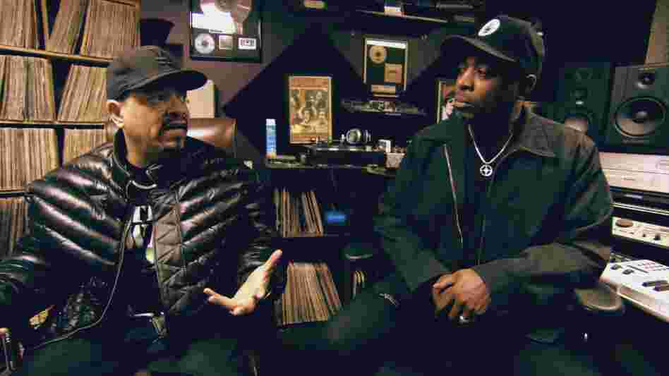 Ice-T (left) with Chuck D in a still from his documentary From Something to Nothing: The Art of Rap.