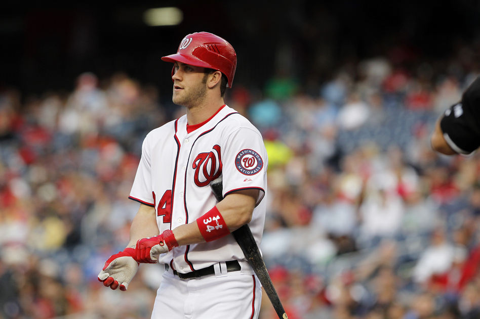 Washington Nationals' Bryce Harper prepares to bat during a baseball game with the New York Mets on June 5 in Washington.