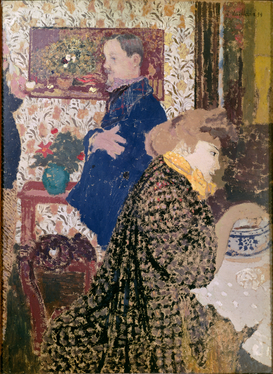 Vuillard depicts Misia Natanson and artist Felix Vallotton in this 1899 oil on cardboard: Vallotton and Misia in the Dining Room at Rue Saint-Florentin. (Courtesy The Jewish Museum)